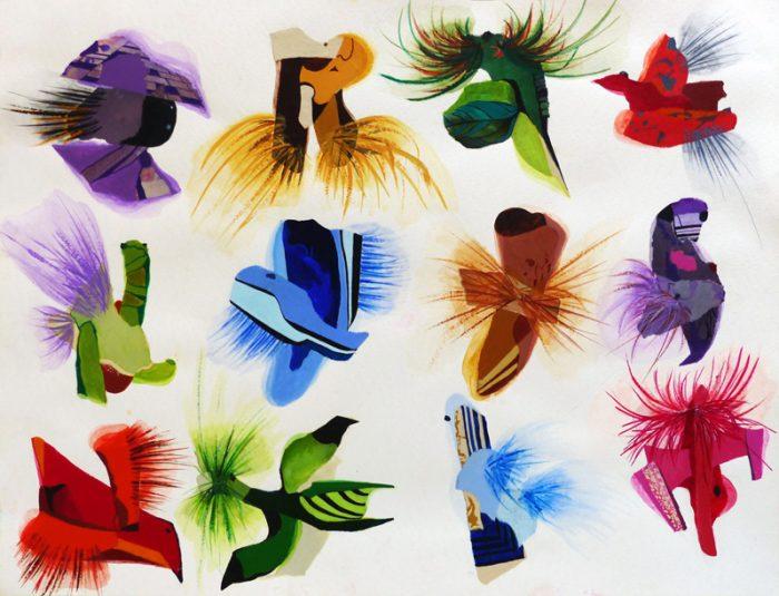 Isabelle Bisson 2018 - Mouches de pêche et bijoux fantaisie -  Peinture acrylique et collages sur papier.