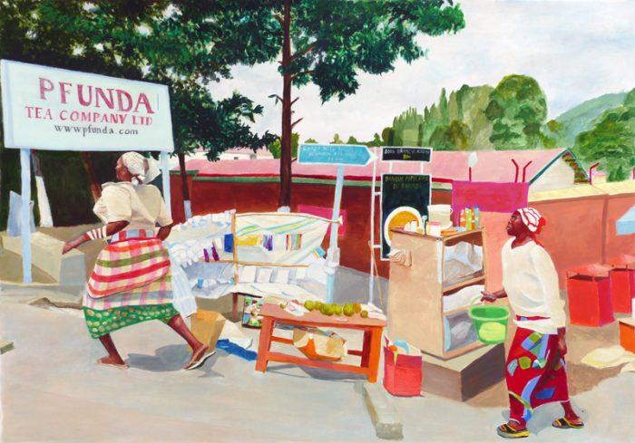 Isabelle Bisson 2018 - Marché à l'arrêt du car, au Rwanda -  Peinture acrylique sur papier.