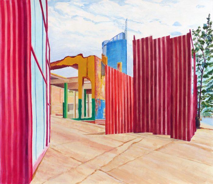 Isabelle Bisson 2018 - Ruine industrielle -  Peinture acrylique sur papier.