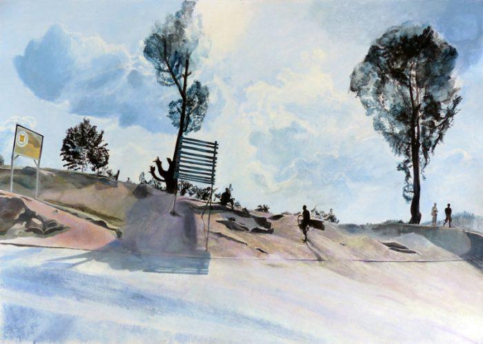 Isabelle Bisson 2018 - Au bord de la route -  Peinture acrylique sur papier.