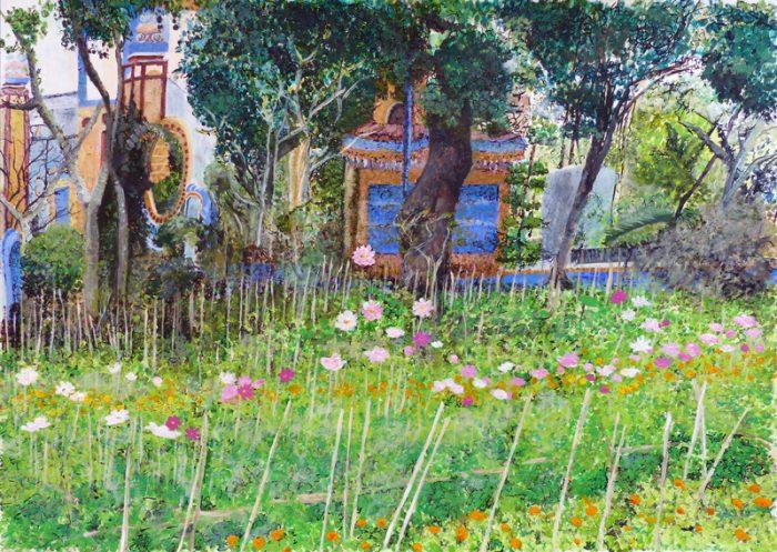 Isabelle Bisson 2018 - Jardin d'un temple bouddhiste au Vietnam -  Peinture acrylique sur papier.