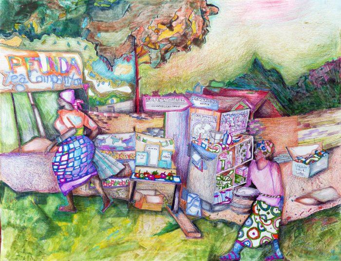 Marie Kresser-Verbois 2018 - Petit marché sur la route de Kigali - Acrylique et crayons de couleur sur papier 50 x 65 cm