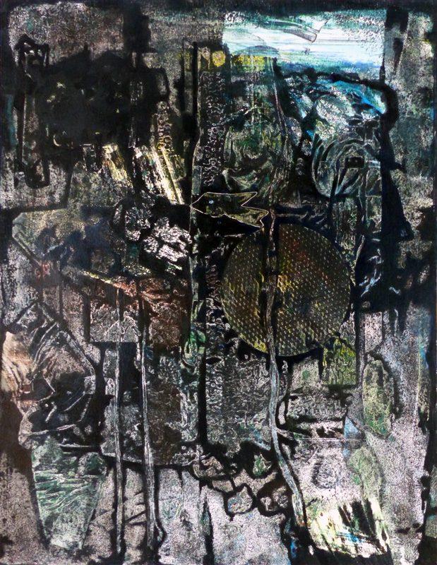 Marie Kresser-Verbois 2018 - Le squelette et la chair d'une peinture - Empreinte d'un collage en relief sur acrylique humide -  50 x 65 cm (II)