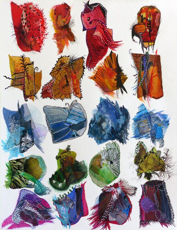 Mireille Vincent 2018 - Mouches de pêche et bijoux fantaisie - Acrylique et collages sur papier
