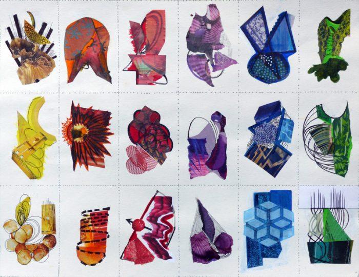 Yolande Bernard 2018 - Mouches de pêche et bijoux fantaisie - Acrylique et collages sur papier 50 x 65 cm