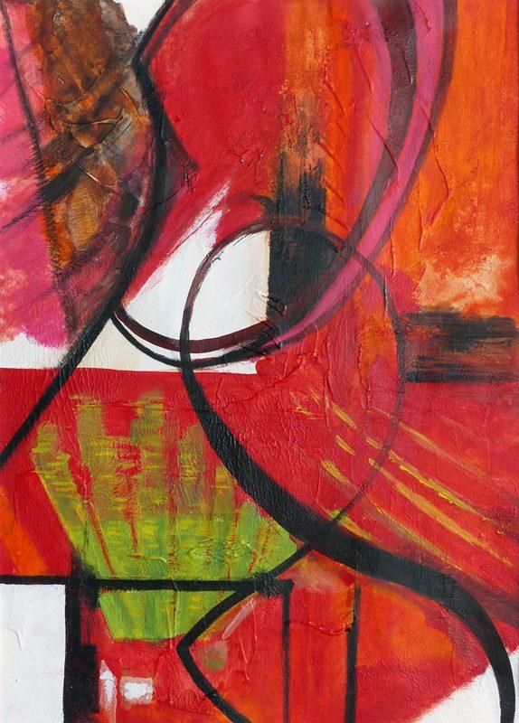 Yolande Bernard 2018 - Mouches de pêche et bijoux fantaisie - Acrylique sur papier 50 x 65 cm