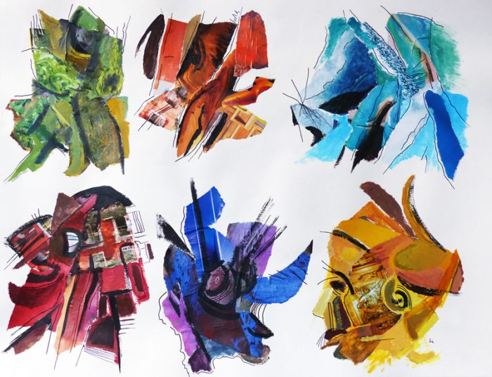 Ladin Sabras 2018 - Mouches de pêche et bijoux fantaisie - Acrylique et collages sur papier 50 x 65 cm