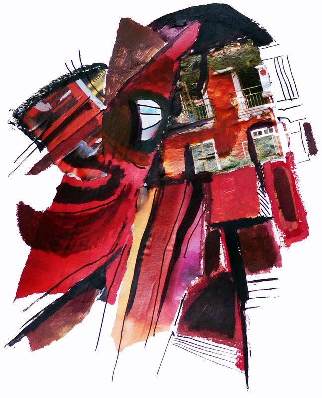 Ladin Sabras 2018 - Masque, mouche de pêche ou bijou fantaisie - Acrylique et collages sur papier 50 x 65 cm