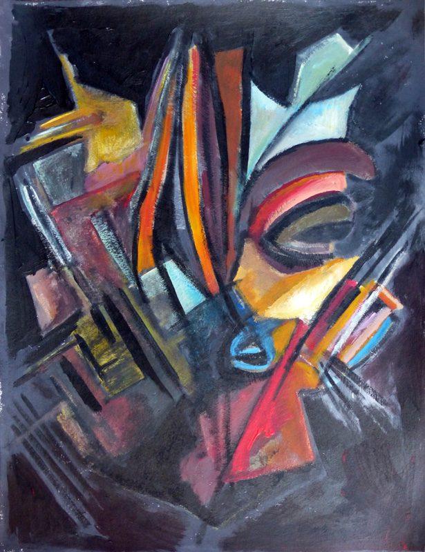 Ladin Sabras 2018 - Masque - Acrylique sur papier 50 x 65 cm