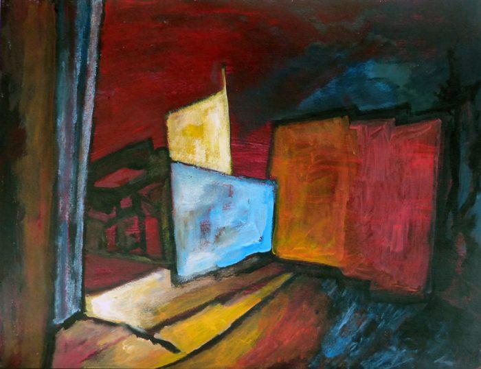Ladin Sabras 2018 - Ruine industrielle (I)- Acrylique sur papier 50 x 65 cm