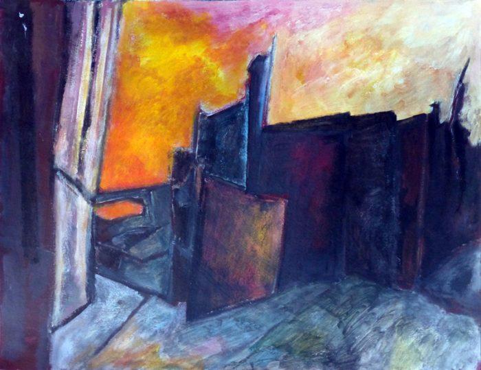 Ladin Sabras 2018 - Ruine industrielle (II)- Acrylique sur papier 50 x 65 cm