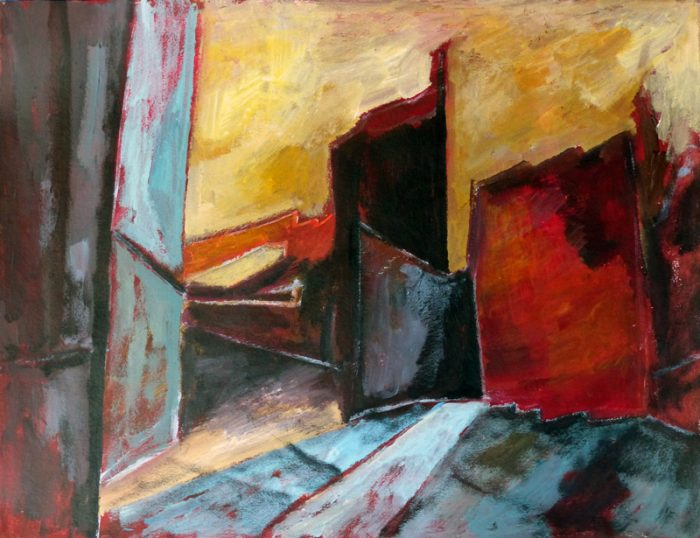 Ladin Sabras 2018 - Ruine industrielle (V)- Acrylique sur papier 50 x 65 cm
