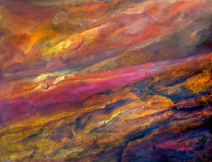 Ladin Sabras 2018 - Champ coloré (II) - Acrylique sur papier 50 x 65 cm