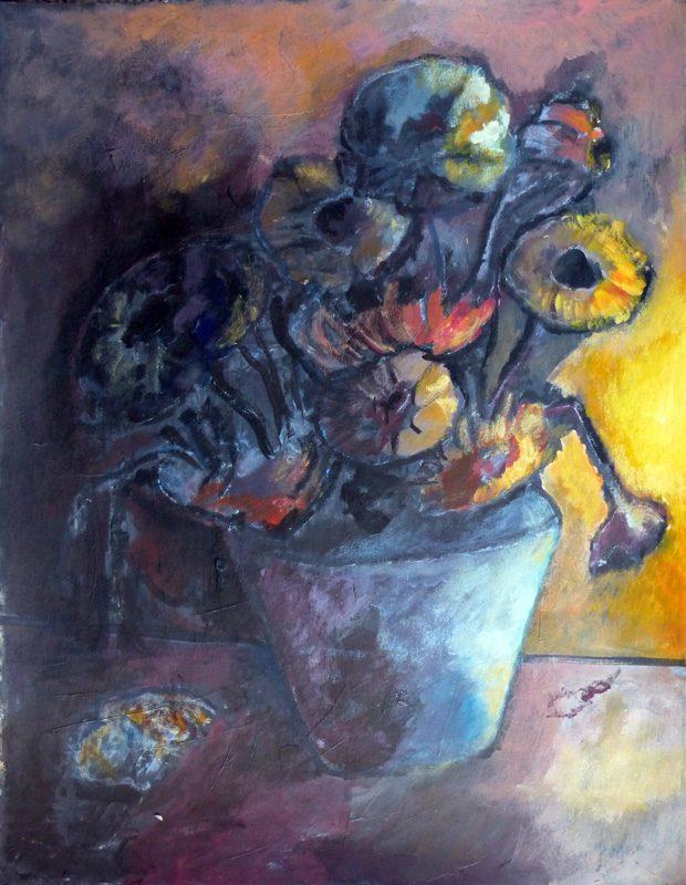 Ladin Sabras 2018 - Fleurs à l'ombre - Acrylique sur papier 50 x 65 cm