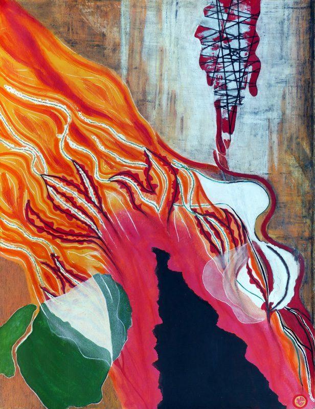 Yolande Bernard 2018 - Peinture en neuf mois n°6 (1ère partie) - Acrylique et collage sur papier 50 x 65 cm