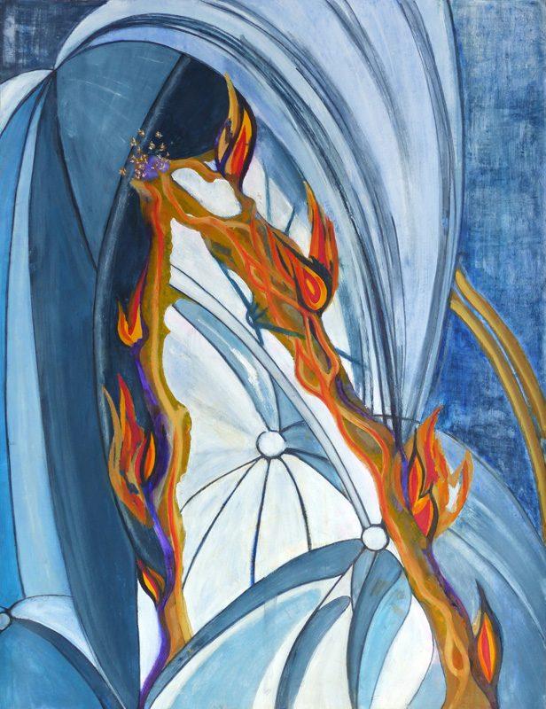 Yolande Bernard 2018 - Peinture en neuf mois n°6 (2e partie) - Acrylique et collage sur papier 50 x 65 cm