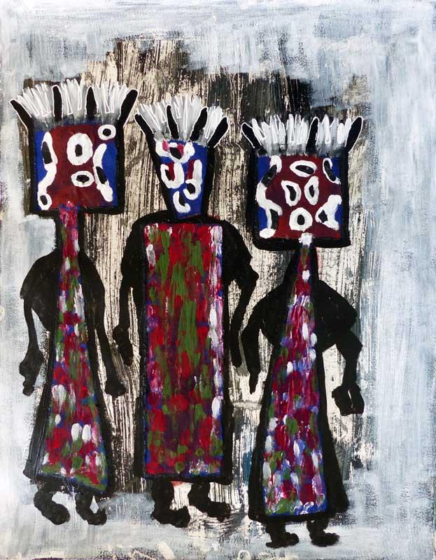 Elise Desvaux Nsongo - N°148 - Trois figures - Peintures sur papier 50 x 65 cm - 2018