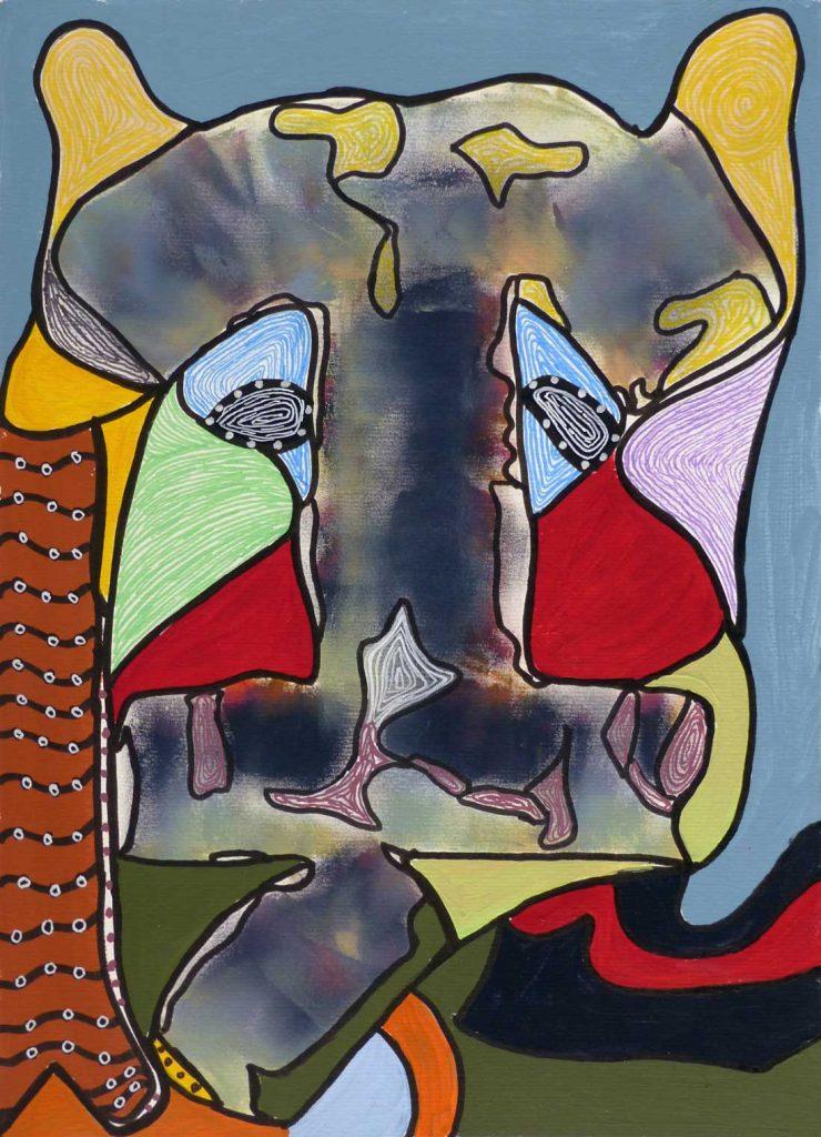 Elise Desvaux Nsongo - N°203 - Masque - Peinture sur papier 30 x 40 cm - 2018