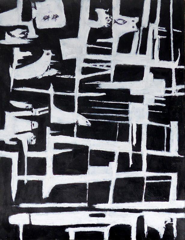 Madeleine Gautier-Brun 2019 - Signes objets 1 - Acrylique sur papier 50 x 65 cm