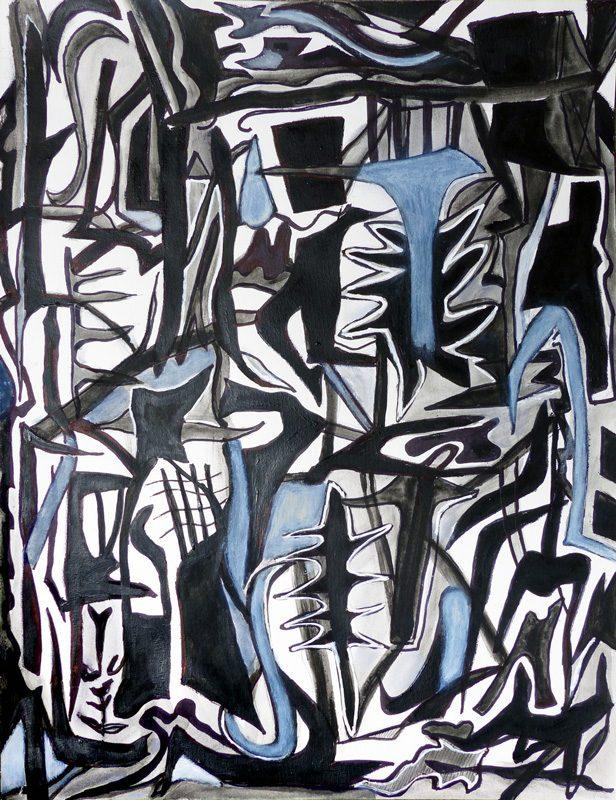 Madeleine Gautier-Brun 2019 - Signes objets 5 - Acrylique sur papier 50 x 65 cm