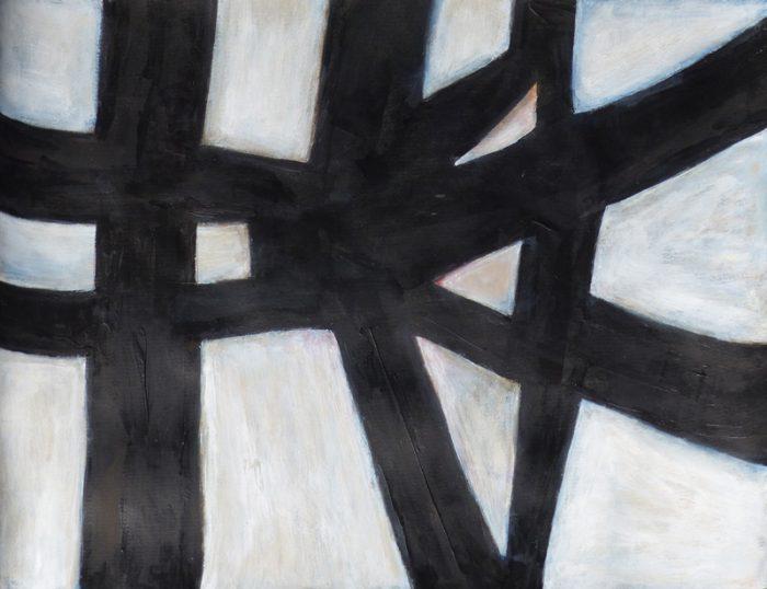 Madeleine Gautier-Brun 2019 - Signes objets 6 - Acrylique sur papier 50 x 65 cm