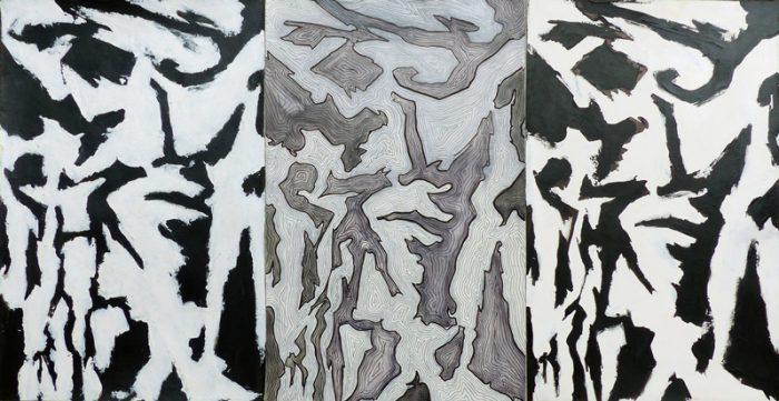 Yolande Bernard 2019 - Bouleau d'écriture -  3 acryliques sur papier 32,5 x 50 cm