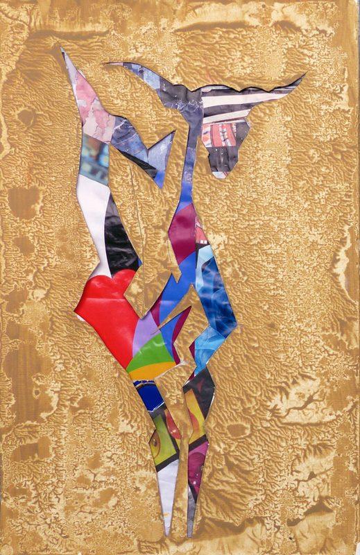 Yolande Bernard 2019 - Chimère 5 - Acrylique et collage sur papier 32,5 x 50 cm