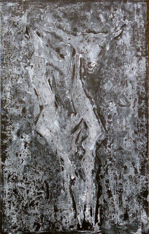 Yolande Bernard 2019 - Chimère 6 - Acrylique sur papier 32,5 x 50 cm