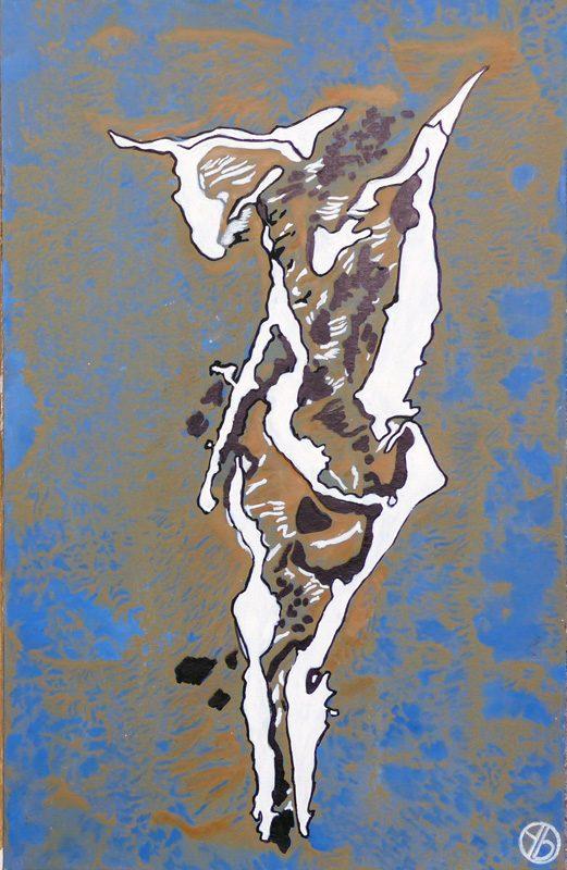 Yolande Bernard 2019 - Chimère 7 - Acrylique sur papier 32,5 x 50 cm