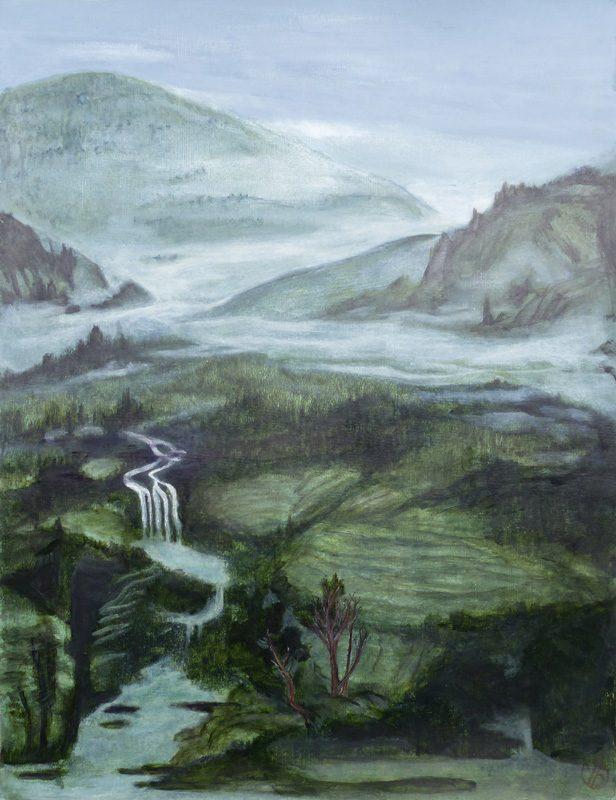 Yolande Bernard 2019 - Paysage à la cascade - Acrylique sur papier 50 x 65 cm