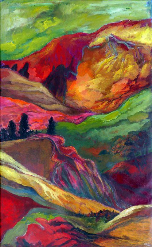 Ladin Sabras 2019 - Paysage vertical (V) - Peinture sur toile