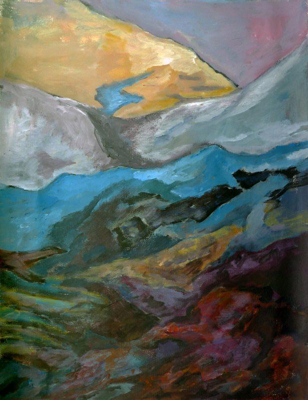 Ladin Sabras 2019 - Paysage vertical (I) - Peinture sur toile