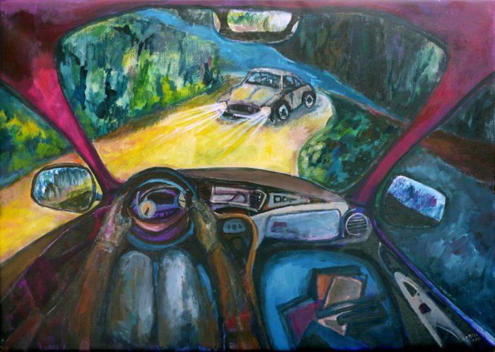 Ladin Sabras 2019 - Sur la route - Acrylique sur toile