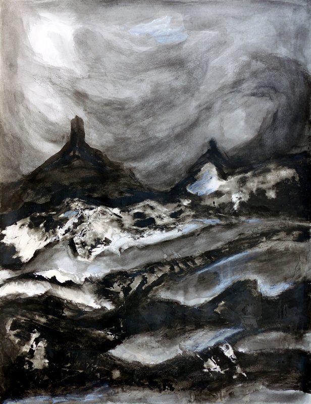 Madeleine Gautier-Brun 2019 - Paysage 9 - Acrylique sur papier 50 x 65 cm