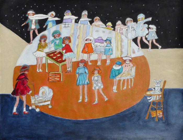Madeleine Gautier-Brun 2019 - Poupées inattendues - Acrylique sur papier 50 x 65 cm