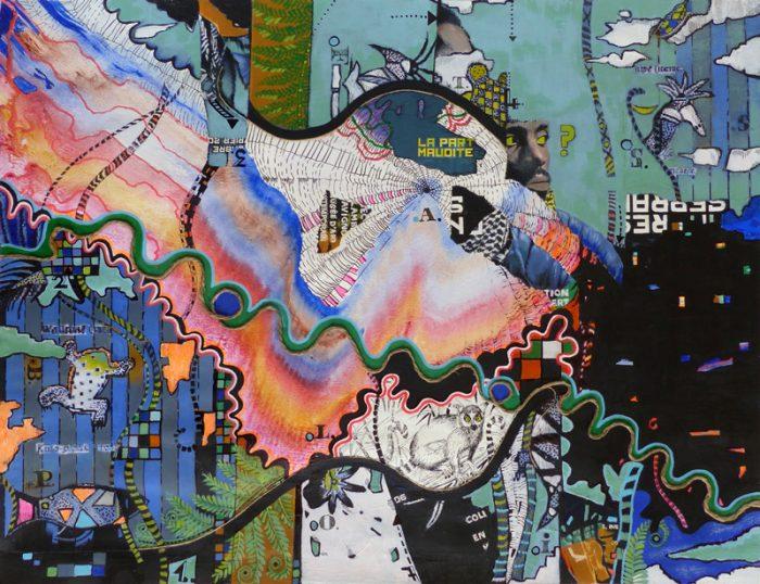 Marie Kresser-Verbois 2018 - Peinture en neuf mois n°6 - Acrylique et collage sur papier 50 x 65 cm