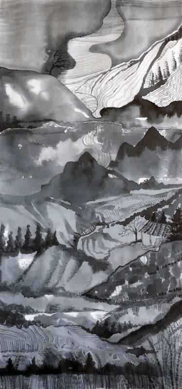 Marie Kresser-Verbois 2019 - Paysage vertical (I) - Acrylique  sur papier 28 x 60 cm
