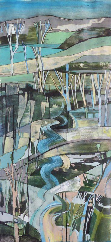 Marie Kresser-Verbois 2019 - Paysage vertical (II) - Acrylique  sur papier 28 x 60 cm