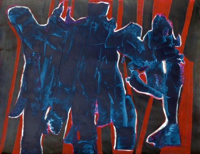 Madeleine Gautier-Brun 2019 - Danse et lutte - Acrylique sur papier 50 x 65 cm