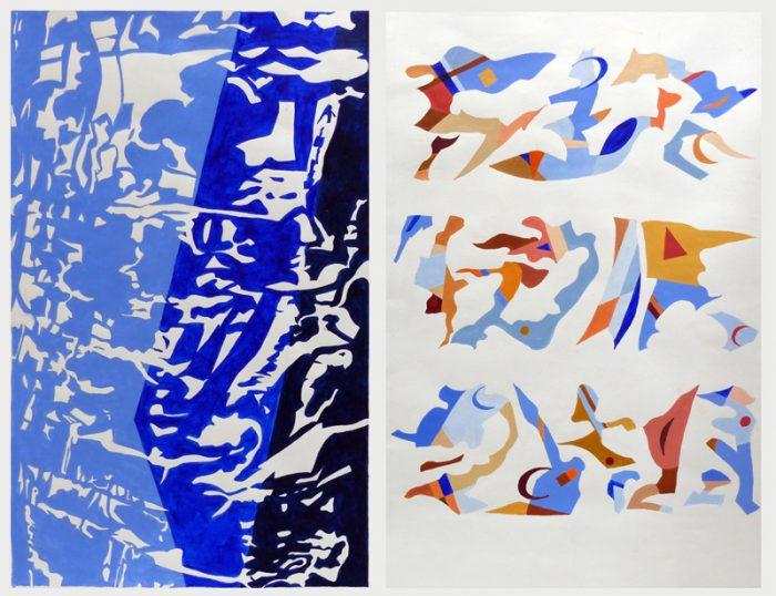 Isabelle Bisson 2019 - Boulerau d'écriture - Peinture acrylique sur papier.