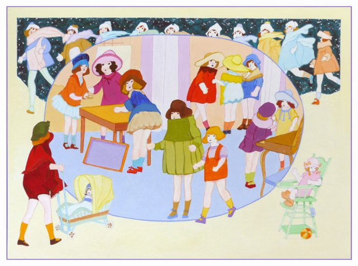 Isabelle Bisson 2019 - Jouer et déjouer (I) - Peinture acrylique sur papier.