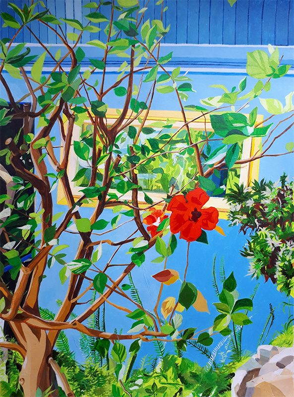 Isabelle Bisson 2020 - Fleur à la fenêtre - Acrylique sur papier 50 x 65 cm
