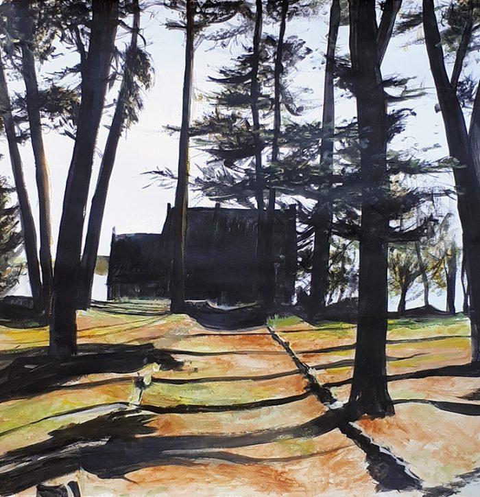 Isabelle Bisson 2021 - Maison noire - Acrylique sur papier
