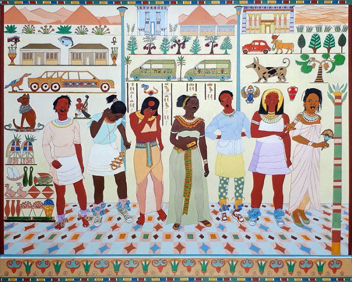Isabelle Bisson 2021 - Du nouveau sur l'Egypte antique - Acrylique sur papier 50 x 65 cm