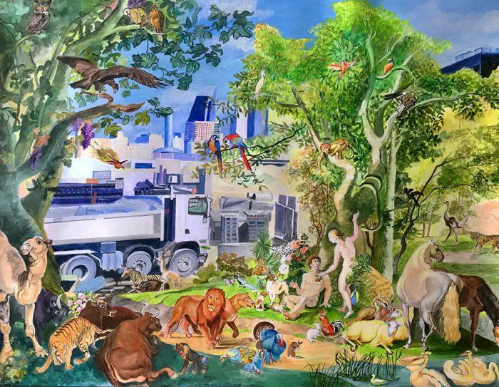 Isabelle Bisson 2021 - Adam et Eve chassés du Paradis - Acrylique sur papier 50 x 65 cm