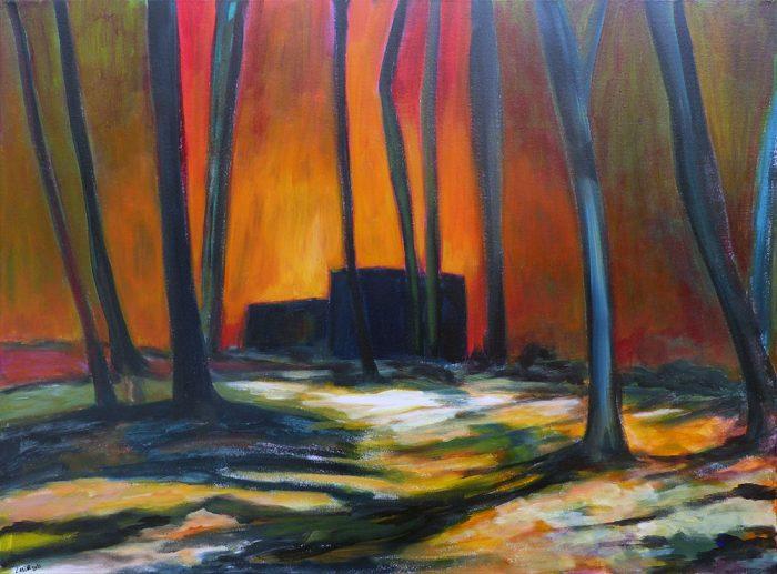Ladin Sabras 2021 - La maison noire derrière les arbres - Acrylique sur toile