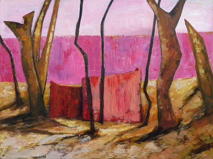 Ladin Sabras 2021 - Le petit pan de mur rose - Acrylique sur toile