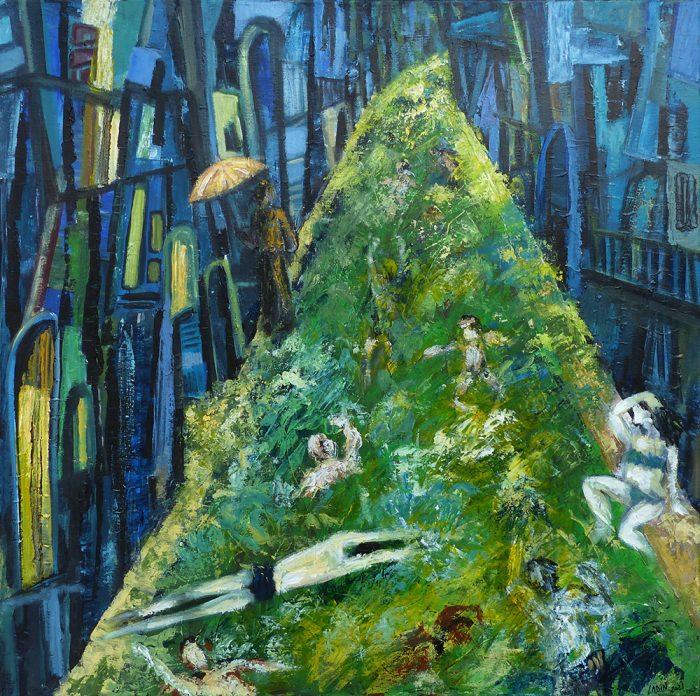 Ladin Sabras 2021 - Baignade dans la rue - Acrylique sur toile 80 x 80 cm