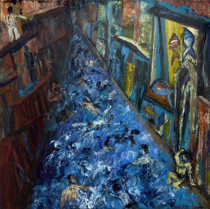 Ladin Sabras 2021 - Baignade nocturne dans la rue (I) - Acrylique sur toile 80 x 80 cm