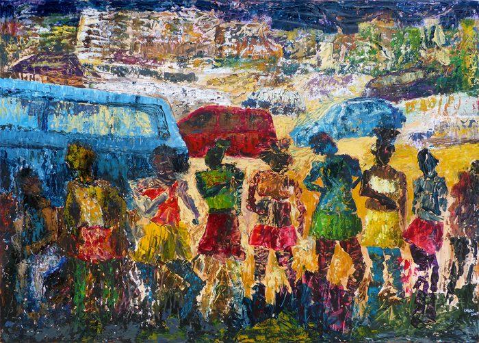Ladin Sabras 2021 - Petites chanteuses de rue (IV) - Acrylique sur toile